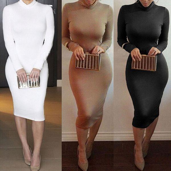 2019 Winter Soft Cotton Stretch Black Party Dresses Plus Size Skinny Sexy Club Wear Gorgeous Warm Maxi Bandage Bodycon Dress wholesale