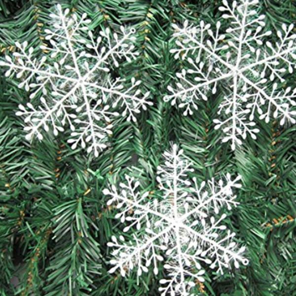 60pcs plastique suspendu flocon de neige de noël décorations de flocon de neige arbre de noël suspendus ornements blanc