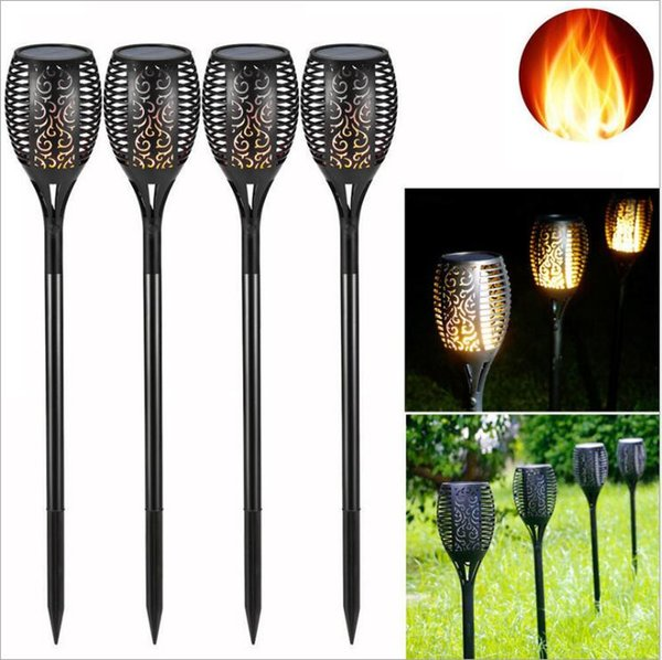 96LED Solaire Powered Torche Flamme Flickering Vacillant Lampe Lumière Jardin