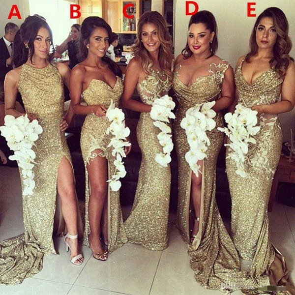best selling Wholesale Customized Glitter Gold Sequined Mermaid Bridesmaid Dresses Backless Slit Side Hot Sale High Quality Plus Size Gowns Evening Dress