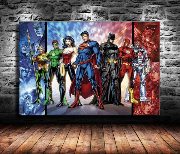 Compre Superhéroes De La Liga De La Justicia De Dc 1 Pieza Impresiones De Lienzos Arte De La Pared Pintura Al óleo Decoración Para El Hogar Sin Marco