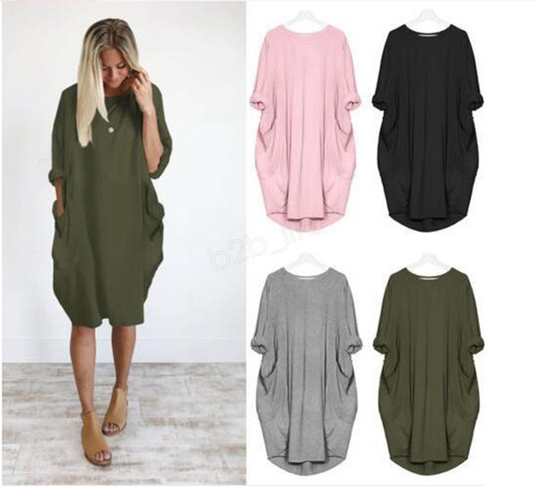 top popular Autumn Women Pocket Loose Dress Ladies Crew Neck Casual Long Girl Tops Dress Female Fashion Big Vestido Dresses Shirt 10pcs LJA3090 2019