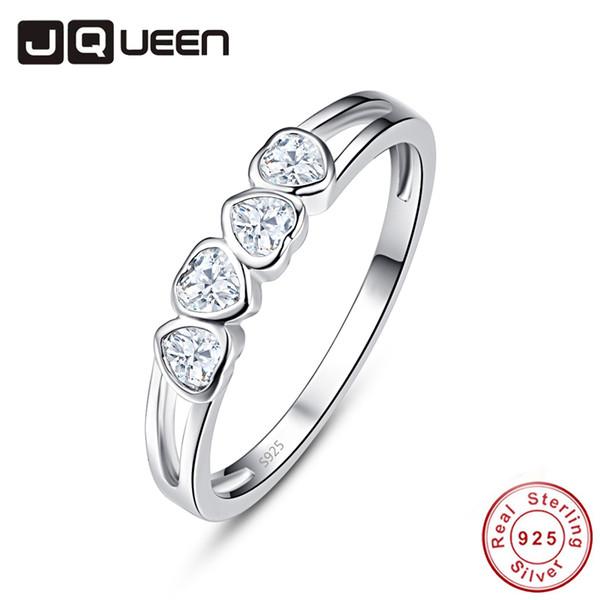 vendita all'ingrosso di alta qualità elegante 4 pezzi a forma di cuore Natual CZ Stone S925 Anello donne fidanzamento fedi nuziali Anello in argento sterling