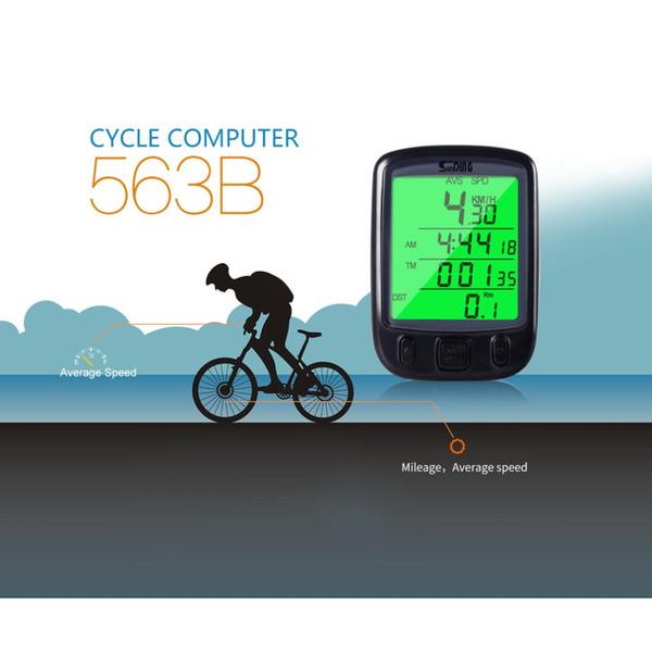 Contatore digitale SD 563B Interruttore timer Impermeabile Display LCD Ciclismo Contachilometri contachilometri contachilometri con retroilluminazione verde
