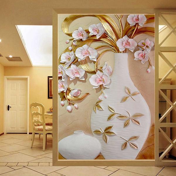 Benutzerdefinierte Größe 3D stereoskopische Relief Blumen Vase Wohnzimmer Eingang Hintergrund Wandbild Designs 3D Schalldichte Wandbild Tapeten