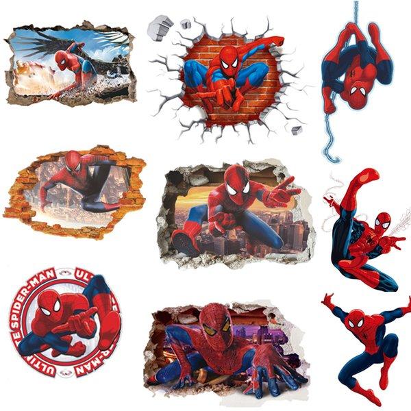3D Popüler Örümcek Adam Karikatür Film ev çıkartması duvar sticker / çocuk odası dekor için adesivo de parede çocuk hediyeler duvar kağıdı