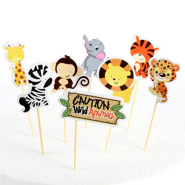24 piezas Cupcake Toppers Jungle Animals Baby Shower Fiesta de cumpleaños Decoración Niños para regalo Favores Decoración de pasteles Decoraciones