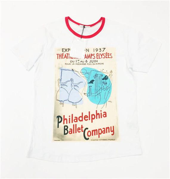 T-shirt à manches courtes pour femmes 2019 Summer Pure cotton Letter Cartoon