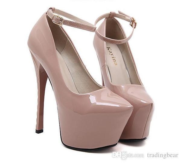 Charm2019 16 cm Super sexy caviglia con zeppa tacchi alti pompe nere Nude brevetto PU scarpe in pelle