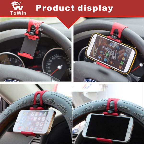 New Simple Design Cell Phone Holder Car Steering Wheel Cradle Smart Mobile Holder Clip GPS Navigator Bracket Elastic Rubber Stand Case Cover