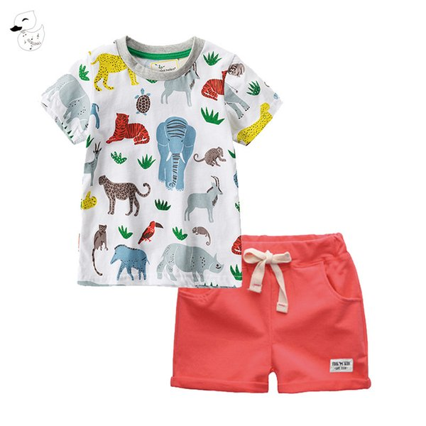 Biniduckling Sets Boy Cartoon T-shirts Shorts Summer Children Clothing Set Cotton Kids Outfits New Style Boys Clothes Q190530