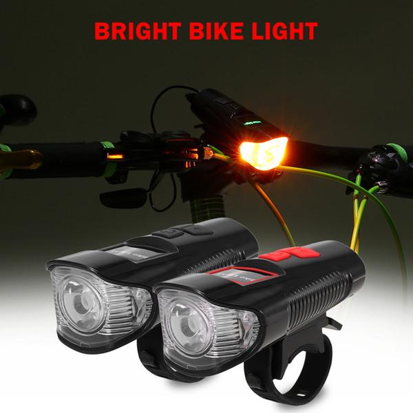 Impermeable de la lámpara recargable linterna de la bicicleta de ciclo LED de la luz delantera cabeza de la bici Con Bell ruidosa Bocina de luz para MTB