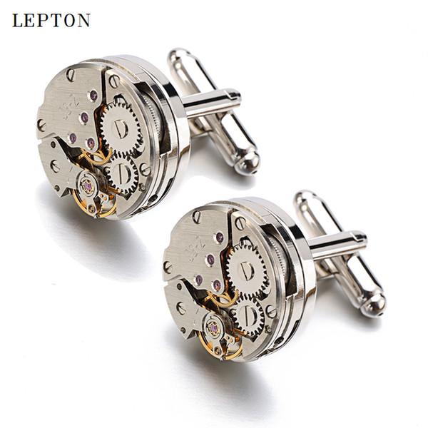Gemelos de movimiento de reloj de negocios para hombres de Lepton Steampunk Gear Gear Mecanismos de gemelos para hombres Relojes gemelos D19011004