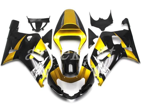 Yeni ABS kaporta kitleri SUZUKI GSXR 600 750 kaportalar Için Fit K1 2001 2002 2003 GSXR600 GSXR750 01 02 03 kaporta seti parlak altın siyah