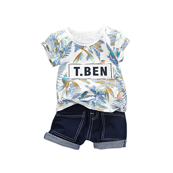 Children's Sets 2Pcs Summer Baby Boys Girls Short Sleeve Floral Print T-shirt Tops+Denim Shorts Suits Casual Outfits Sets