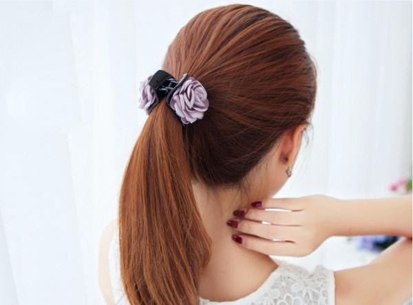 Nuevos accesorios para el cabello coreanos adornos de cabeza Tela rosa flores versión coreana