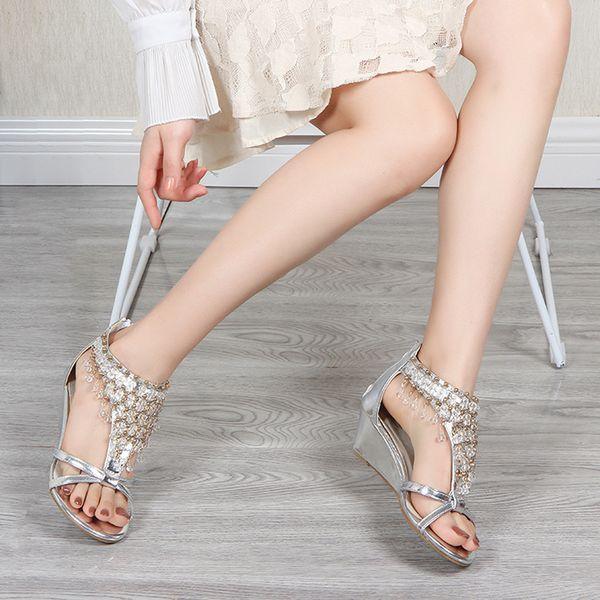 MUQGEW Sandalen Frauen Sandalen Sommer Mode Keil Mit Perle String Perlenabdeckung Ferse Anhänger Freizeitschuhe Espadrilles Gladiator