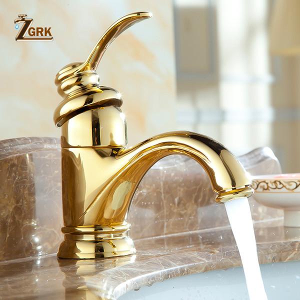 ZGRK Deck Mounted Antique Brass Single Hole Rubinetto placcato oro bagno rubinetto del lavabo rubinetto del bacino