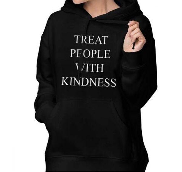 Şefkat Mektubu Artı Boyutu ile Insanlar tedavi Moda Hoodie Kadınlar Harajuku Uzun Kollu Kapşonlu Sweatshirt Dropship Grafik Tee