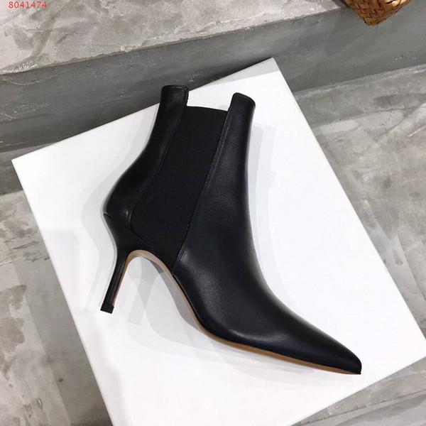 Clásicos mujeres de las botas de cuero del diseñador Negro botas de tacón alto botas de elementos de cadena de metal de acabado Lady arranque botines con hebilla con la caja Tamaño 35-41