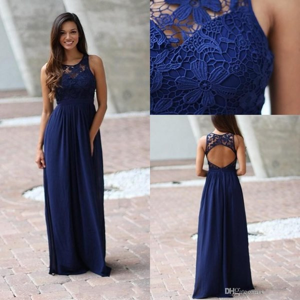 2018 Country Royal Blue Brides Maid Bridesmaids Dresses Sheer Crew Lace Sleeveless Backless Long Full Length Bridesmaid Gown for Weddings