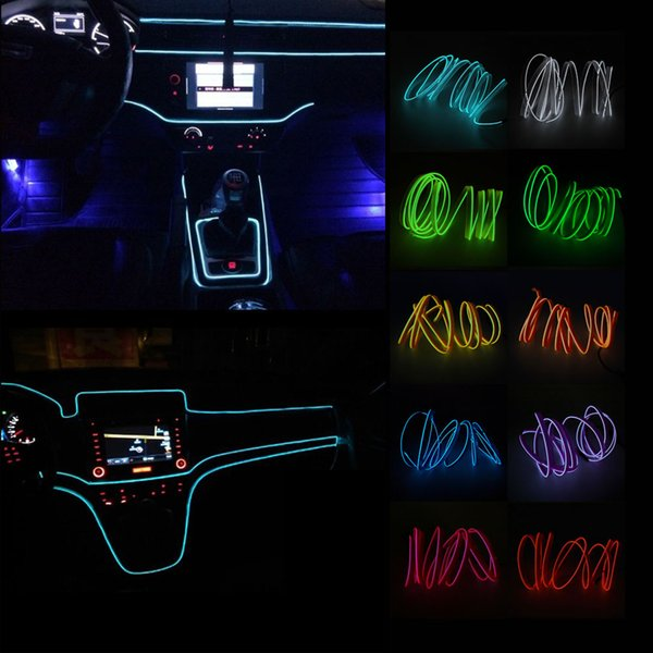 2m EL Wire Neon Lights 12V Flexible LED Strip Lights Auto Atmosphere Lamp Interior for Car Decoration Universal