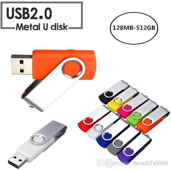 Nouvelle capacité réelle pivotante 16 Go-128 Go USB 2.0 mémoire flash Stick Pen Drive Stockage Thumb U Disk