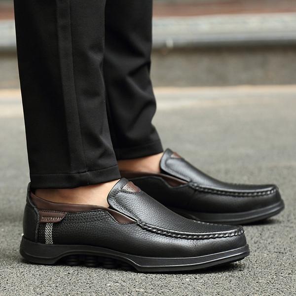 Verão 2019 Venda Quente Homens Moda Britânica Sapatos de Couro Ao Ar Livre Sapatos Casuais Homens de Negócios para Homens Casuais Streetwear