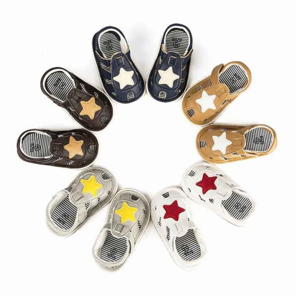 Toddle Bebek Kız White Star Sandal PU Bebek Kız Bebek Boy Shoes Yumuşak Alt Beşik Kaymaz Yaz 0-12M Ayakkabı