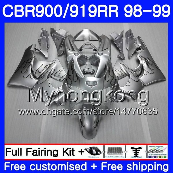 Cuerpo para HONDA CBR 900RR CBR 919RR CBR900 RR CBR919RR 98 99 278HM.23 CBR900RR CBR 919 RR CBR919 RR Llamas de plata caliente 1998 1999 Kit carenados