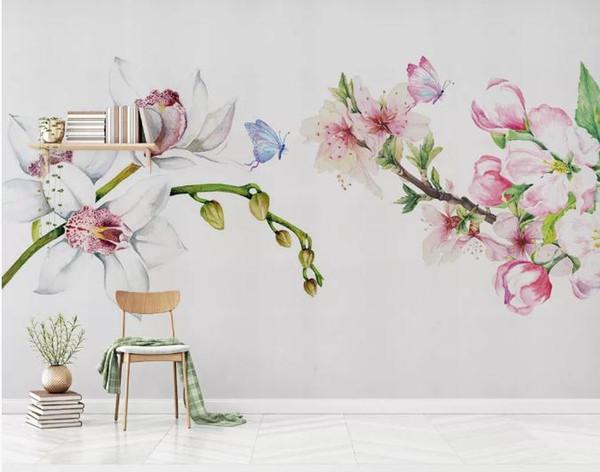Custom Wallpaper 3D Stereoscopic Minimalist hand-painted floral rustic style Art Wall Mural Living Room Bedroom Wallpaper