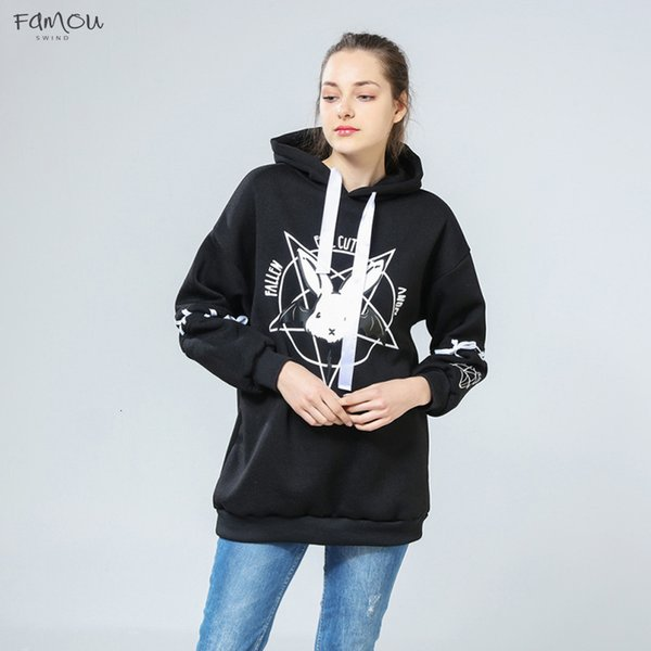 Harajuku Lolita Style Women Sweatshirt Rabbit Pentacle Hoodies Lace Up Print Pullover Casual Loose Long Sleeve Tracksuit