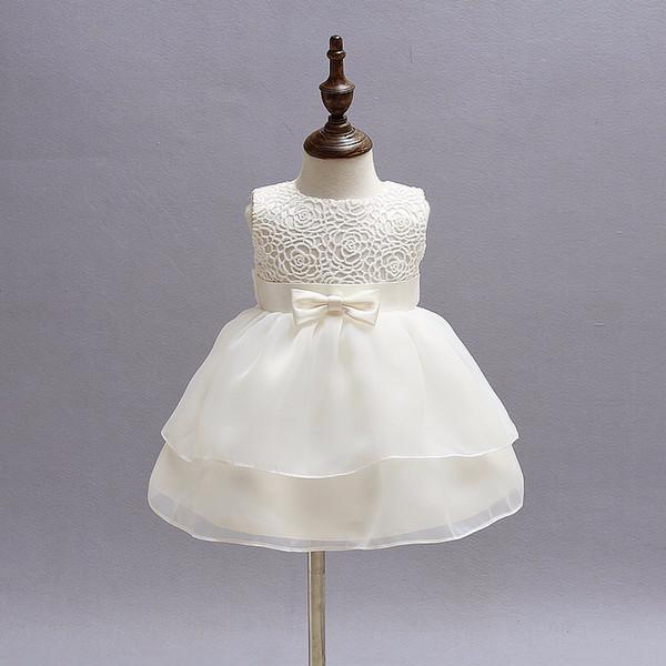 Baby Girls White Baptism Dress Newborn Princess 1 Year Birthday Party Dress Vestido de bautizo para niños pequeños Vestidos para niñas 12 24M