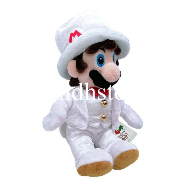 """Hot New 9"""" 23CM Super Mario Bros Sitting Mario With White Dress Plush Doll Anime Collectible Best Dolls Stuffed Gifts Soft Toys"""