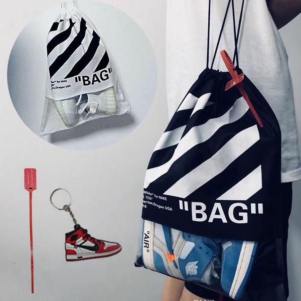 2019 Kids Black White Drawstring Bags Mochila deportiva Rayas de cebra Mochilas al aire libre Bolsa de hombro de viaje Niños Niñas Ropa Zapatos Bolsos M210F