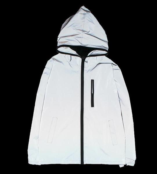 Ceket 5XL 4XL Erkekler Tam Yansıtıcı Ceket Işık Hoodies Kadın Ceketler Hip Hop Su Geçirmez Rüzgarlık Kapüşonlu Streetwear Mont Adam