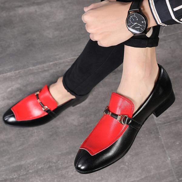 Новая Мода Человек Острым Носом Кожаные Ботинки Повседневная Вечернее Платье Оксфорды Квартиры Скольжения на Дышащие Мокасины Мужчины Свадебные Туфли Размер 37-48