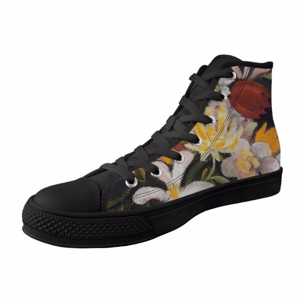 2019 New Style Women High top Canvas Fashion Casual Vulcanized comfortable Shoes Girls Female Black Breathable Lace-up Sneakers