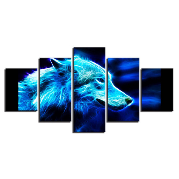 5 Pcs Combinations HD Gleamy Tiger Wolf horse leopard eagle Framed Canvas Painting Wall Decoration Printed Oil Painting poster