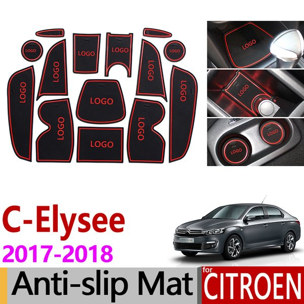Anti-Slip Gate Slot Mat Rubber Coaster for Citroen C-Elysee 2017 2018 C Elysee CElysee Facelift Accessories Car Stickers 14PCS