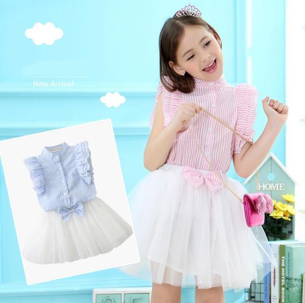 Meninas Saia Tutu Conjuntos de Verão Outfit Ruffle shirt listrado + Irregular Maxi arco Vestido de Praia roupas de duas peças terno Rosa Azul