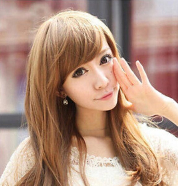 WIG free shipping Sexy Girl's Long Curly Wig Fashion Korean Stylish Full Lace Wigs