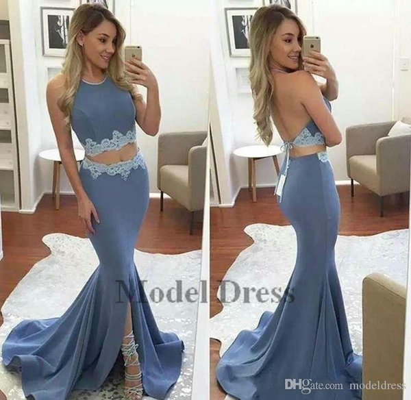 new Sexy Two Pieces Prom Dresses Mermaid Halter Backless Lace Applique Front Slit Girls Graduation for Prom Gowns Sweep Train Evening Gowns