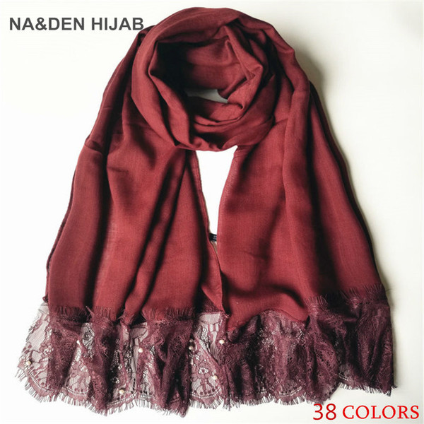 2019 Hot sell fashion lace pearl cotton fold solid color shawls Muslim woman scarves viscose soft scarf 1pcs/lot