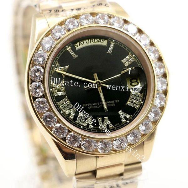 1 Color Luxury Watch 43mm 2813 Gold President Day-Date Diamonds Watch Men Stainless Black Dial Diamond Bezel Automatic WristWatch