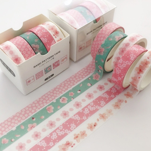 best selling 5 pcs pack Striped  Flowers Colorful Decorative Adhesive Tape Masking Washi Tape Scrapbooking Sticker Label School Office Supply 2016
