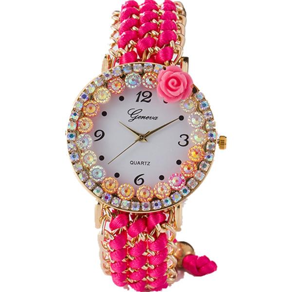 Nueva mujer hermosa ginebra flor colorido diamante cuerda de cristal tejido pulsera relojes moda para mujer vestido de ocio reloj de pulsera