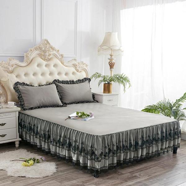 Europäische Luxus-Tagesdecken und 2PCS Kissenbezug Thick Cotton Bed Skirt mit Lace Edge Twin Königin King Size Bettwäsche-Set rutschfest