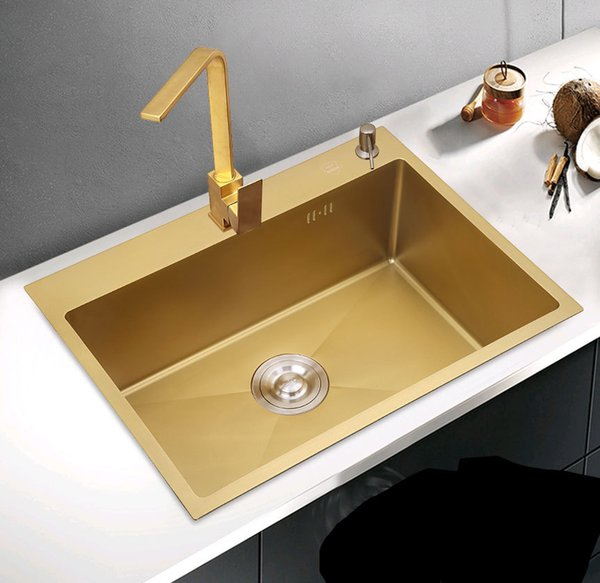 best selling Gold Double Bowel Kitchen Sink 304 Stainless Steel Kitchen Sink Above Counter with Strainer Drain Hair Catcher Send From Brazil