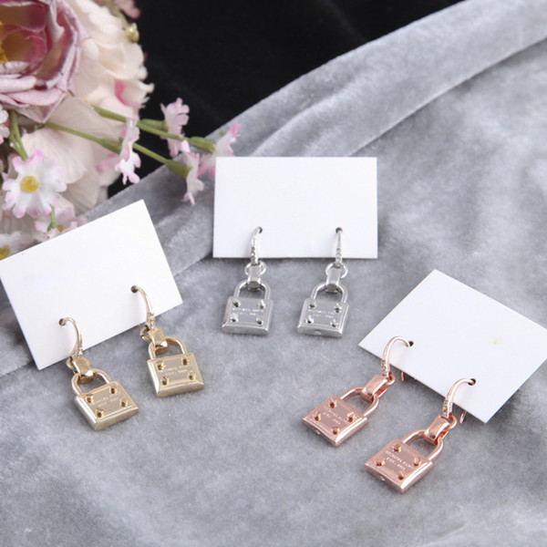 top popular New York Designer Earrings Fashion Padlock Drop Earrings with Logo Cute Lock Alloy Earrings Cheap Famous Designer Jewelry 2019